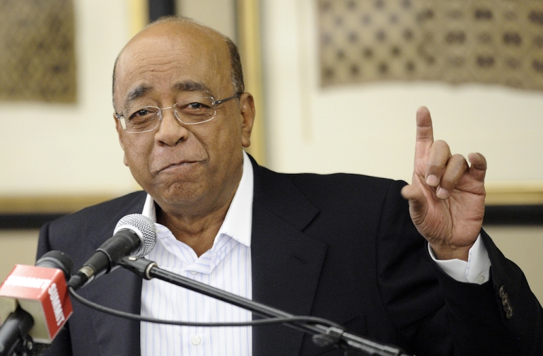 <p>Sudanese-born billionaire Mo Ibrahim, founder of the Mo Ibrahim foundation gives a press conference on October 4, 2012 in Johannesburg to announce a one-off extraordinary award worth $1 million to Archbishop Desmond Tutu in recognition of his lifelong commitment to speak truth to power. Ibrahim said the award was not designed to replace his annual excellence in African leadership award, given to African leaders who peacefully step down from power.  Since 2006 the telecom mogul's foundation has tried to give one African a prize of $5 million, spread over 10 years, followed by an additional $200,00 a year for life. But due to stringent criteria, he has not always been successful.</p>