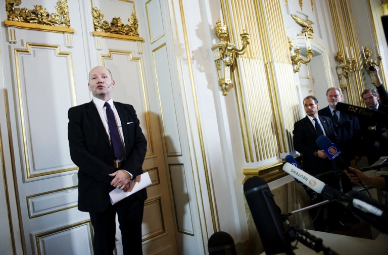 <p>Peter Englund, secretary of the Royal Swedish Academy, announces that Swedish poet Tomas Transtromer is the winner of the 2011 Nobel Prize of literature on October 6, 2011, in front of journalists in Stockholm.</p>