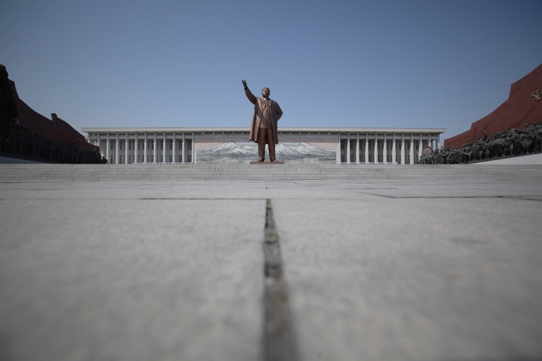 <p>The Immortal Statue of Kim Il Sung monument is seen on April 3, 2011 in Pyongyang, North Korea.</p>