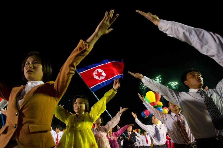 <p>North Korean performers celebrate the 100th birth anniversary of the country's founding leader Kim Il Sung, in Pyongyang on April 16, 2012.</p>