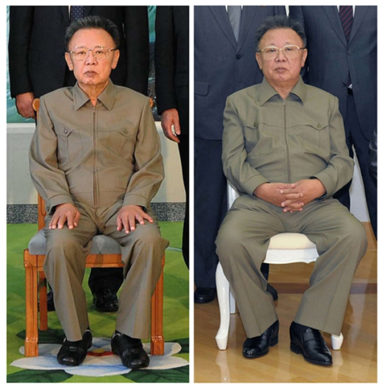 <p>A combination photo shows North Korea's leader Kim Jong Il posing on Aug. 4, 2009 (left) and again with a Russian delegation on May 17, 2011. The photo of Kim Jong Il (right) published this week by state media shows the North Korean leader looking comparatively healthy compared to two years ago when he appeared aged and frail seated alongside visiting former U.S. President Bill Clinton.</p>