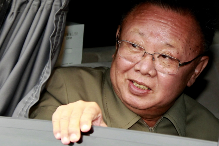 <p>North Korea's leader Kim Jong Il looks out of a car window after meeting with Russian President Dmitry Medvedev on Aug. 24, 2011.</p>