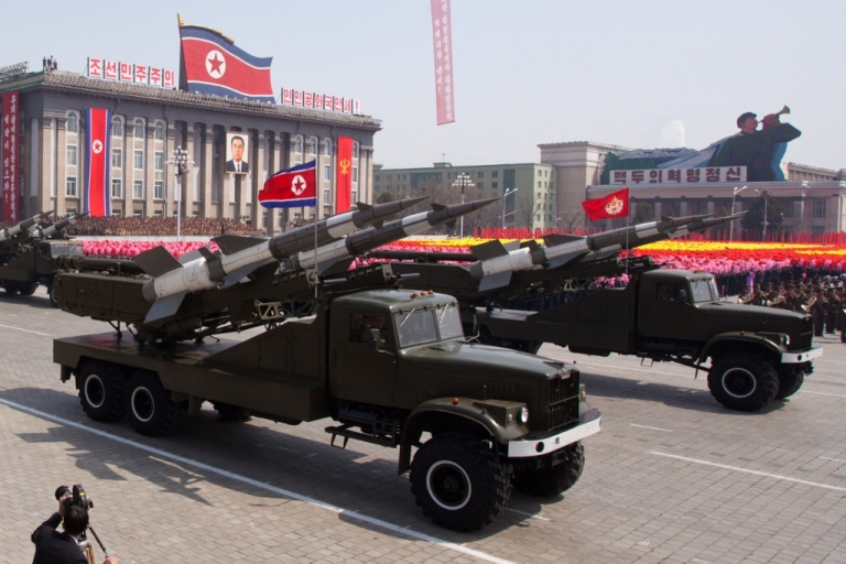 <p>North Korea, Land of Opportunity. A North Korean military parade Apr. 15, 2012.</p>