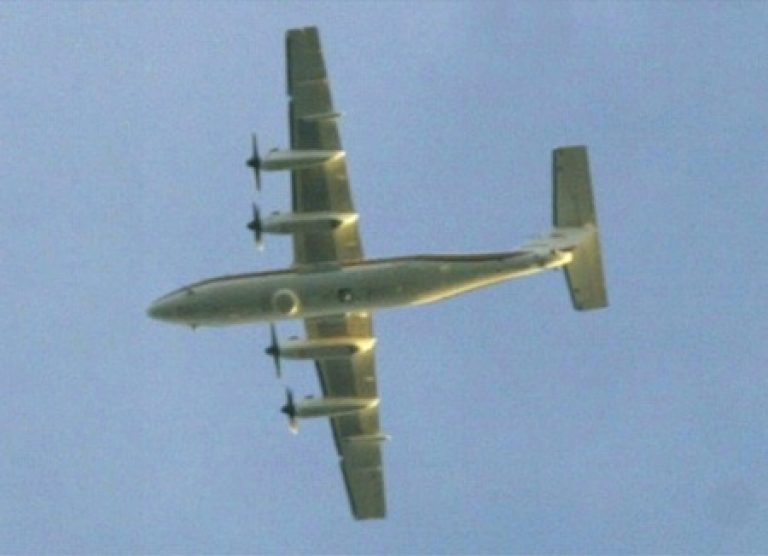<p>An RC-7 Airborne Reconnaissance Low plane is shown flying on patrol towards the Washington D.C. area. The plane has been deployed in U.S.-South Korea war games, anti-narcotics spy missions in the Pacific and over D.C. during a 2002 sniper manhunt.</p>