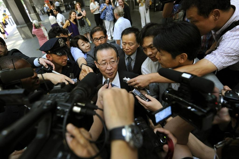 <p>North Korean Vice Foreign Minister Kim Kye Gwan talks to reporters as he leaves his New York City hotel. Kim met with U.S. Ambassador Stephen Bosworth to discuss North Korea's nuclear program on July 28, 2011.</p>