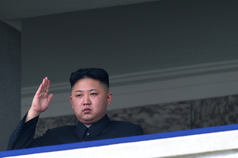 <p>North Korean leader Kim Jong-Un salutes as he watches a military parade to mark 100 years since the birth of the country's founder and his grandfather, Kim Il-Sung, in Pyongyang on April 15, 2012.</p>