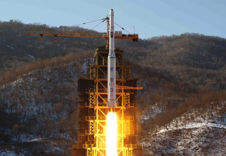 <p>North Korean rocket Unha-3, carrying the satellite Kwangmyongsong-3, lifts off from the launching pad in Cholsan county, North Pyongan province on Dec. 12, 2012. A South Korean military source said on March 15 that North Korea had fired short-range missiles into the East Sea.</p>
