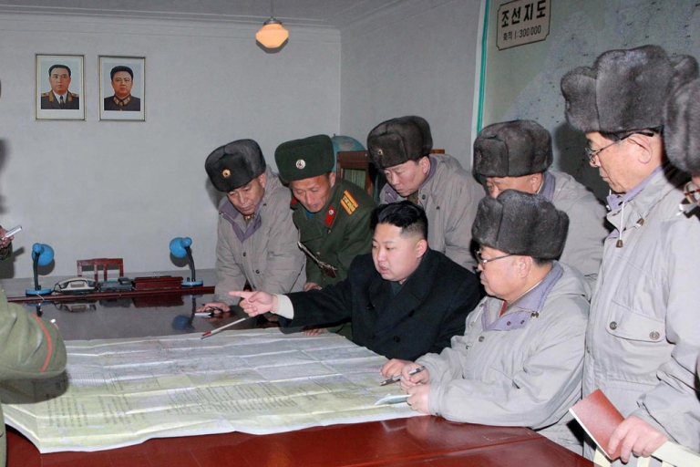 <p>This undated handout picture released from North Korea's official Korean Central News Agency on February 9, 2012 shows North Korean leader Kim Jong Un (C) inspecting the Command of Large Combined Unit 324 of the Korean People's Army at undisclosed place in North Korea. AFP PHOTO / KCNA via KNS</p>