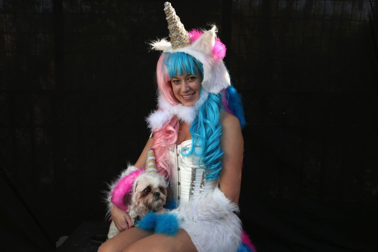 <p>Jamae Hallberg and dog Femma pose as unicorns at the Tompkins Square Halloween Dog Parade on October 20, 2012 in New York City. North Korea's news agency reported on November 30, 2012, that historians 're-confirmed' the existence of unicorns.</p>