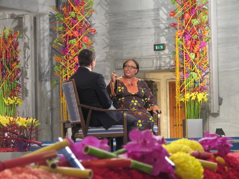 <p>CNN's Jonathan Mann interviews Nobel Peace Prize winner Leymah Gbowee from Liberia during the 2011 award ceremony.</p>