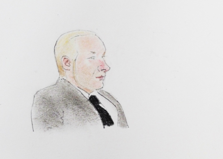 <p>A drawing of terror suspect Anders Behring Breivik during a hearing at the Oslo courthouse, on Nov. 14, 2011.</p>