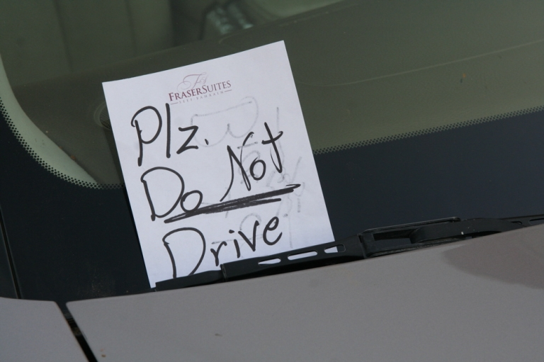 <p>A note left on a female driver's car in Riyadh. Saudi women are forbidden to drive, though a number of women have disobeyed the law in recent months as part of a larger effort to gain greater social autonomy.</p>