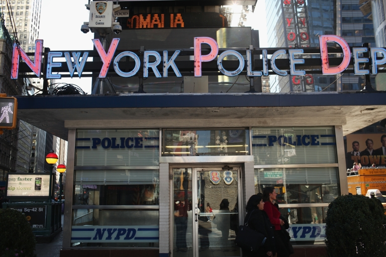 <p>The New York City Police Department precinct in Times Square on Oct. 25, 2011.</p>