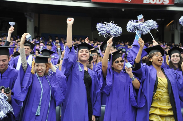 <p>Commencement at Yankee Stadium for 2011 New York University graduates on May 18, 2011.</p>