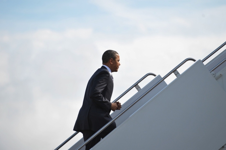 <p>U.S. President Barack Obama makes his way to Air Force One on May 18, 2011 at Andrews Air Force Base in Maryland.</p>
