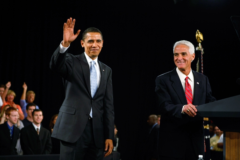 <p>Former Republican Governor Charlie Crist of Florida (R) introduces President Barack Obama during a Town Hall Meeting at the Harborside Event Center February 10, 2009 in Fort Myers, Florida. Crist officially became a Democrat at a holiday party at the White House on Friday.</p>