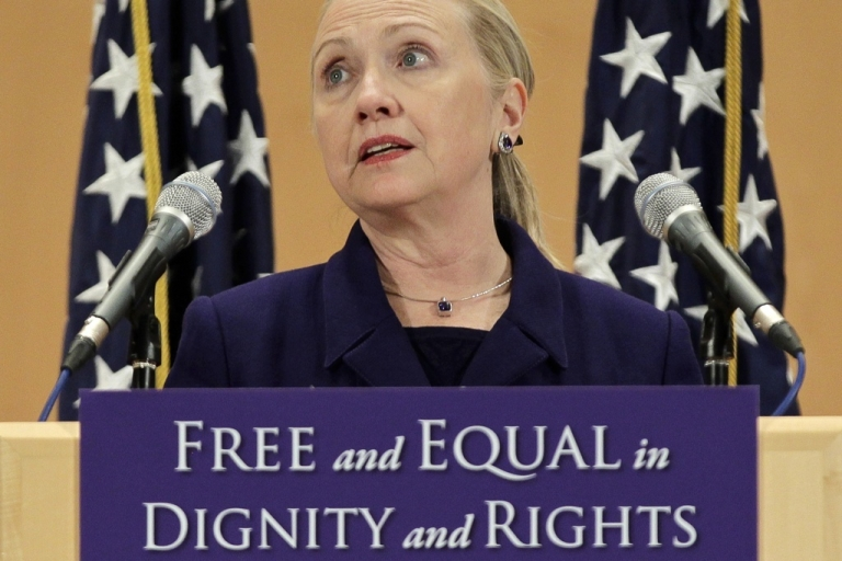 <p>US Secretary of State Hillary Clinton defends the rights of lesbian, gay, bi-sexual, and transgender people from around the world in a speech entitled 'Free and Equal in Dignity and Rights' during the International Human Rights Day at the United Nations in Geneva on December 6, 2011. Hillary Clinton called for an end to gender discrimination in the world and announced the creation of a fund to support the fight against the discrimination of gay, lesbian, bisexual and transgender people.</p>
