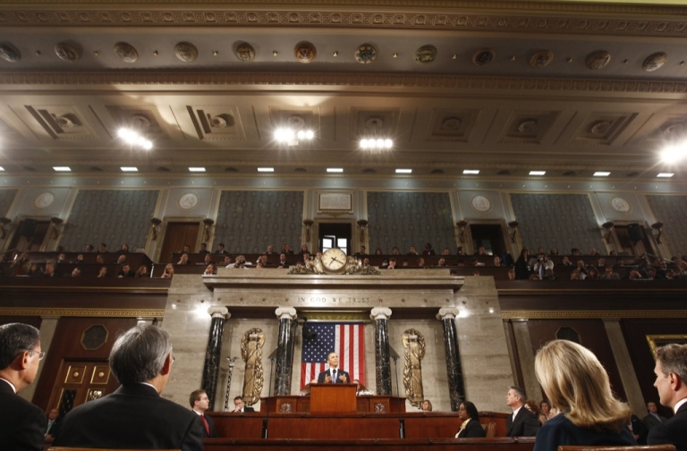 <p>President Barack Obama addresses a joint session of the United States Congress on the subject of job creation on Capitol Hill in Washington, September 8, 2011.</p>