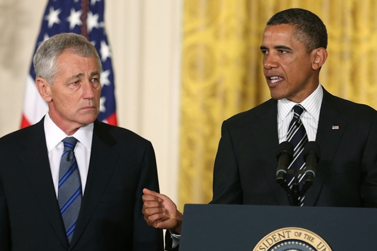 <p>US President Barack Obama (right) speaks during a news conference with former US Sen. Chuck Hagel (R-Neb.) in the East Room at the White House on January 7, 2013 in Washington, DC. Pending approval by the Senate, the nomination of Hagel as Secretary of Defense will replace Leon E. Panetta.</p>