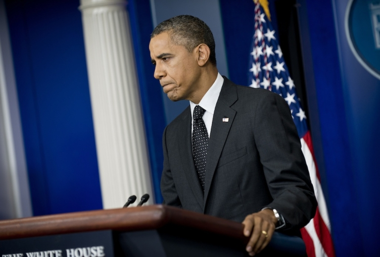 <p>US President Barack Obama pauses during a press conference in the briefing room of the White House on August 20, 2012 in Washington, DC.</p>