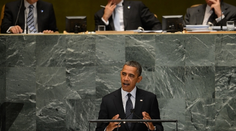 <p>US President Barack Obama addresses the 67th UN General Assembly at the United Nations headquarters in New York, Sept. 25, 2012. Obama on Tuesday demanded 'sanctions and consequences' for atrocities in Syria and said President Bashar al-Assad's rule must come to an end. 'The future must not belong to a dictator who massacres his people,' Obama told the UN General Assembly in a keynote address.</p>