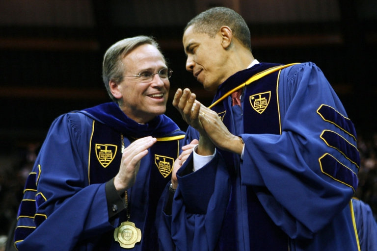 <p>President Barack Obama and Rev. John I. Jenkins speak before the 164th commencement ceremonies at University of Notre Dame on May 17, 2009, in South Bend, Ind. Obama received an honorary law degree from the university during the commencement.</p>
