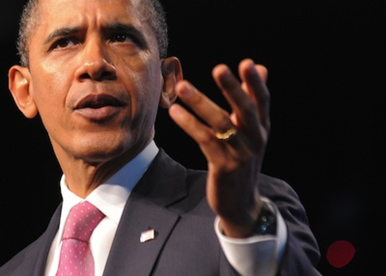 <p>US President Barack Obama speaks at the Washington Convention Center on March 4, 2012 in Washington, DC.</p>