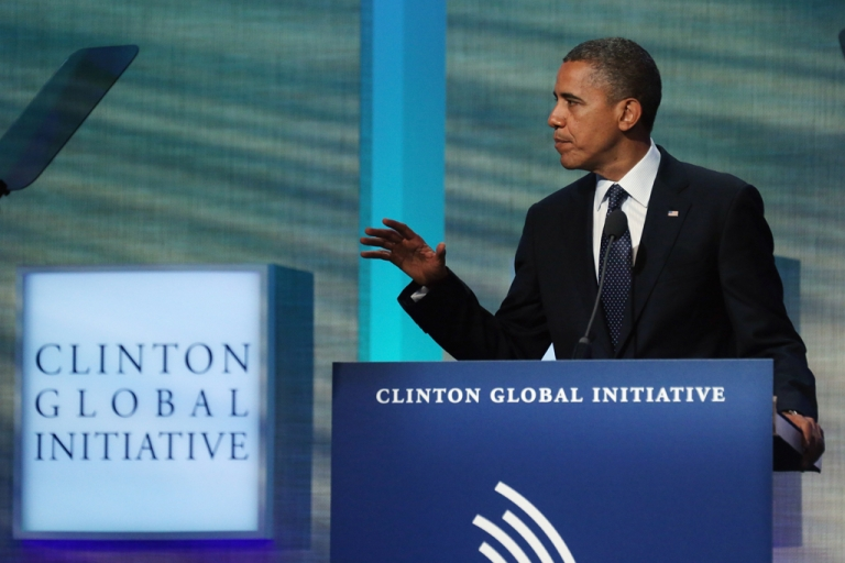 <p>US President Barack Obama speaks at the Clinton Global Initiative meeting on September 25, 2012 in New York City.</p>