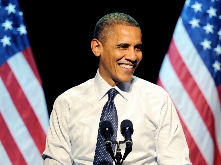 <p>LOS ANGELES, CA - OCTOBER 07: President Barack Obama speaks at the '30 Days To Victory' fundraising concert at the Nokia Theater L.A. Live.</p>