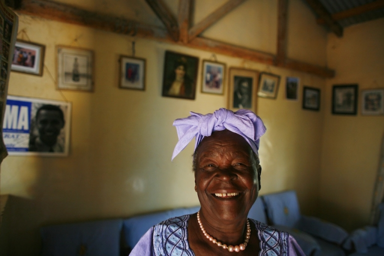 <p>Sarah Hussein Obama, 86, the grandmother of U.S. President Barack Obama, posed in her home awaiting the results of Super Tuesday's primary February 5, 2008 in Kogelo, Kenya.</p>