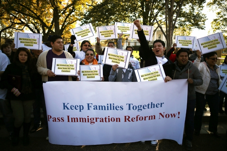 <p>Activists rally for immigration reform Nov. 8, 2012 in Washington, D.C. President Obama has insisted any bill in Congress will include a pathway to citizenship.</p>