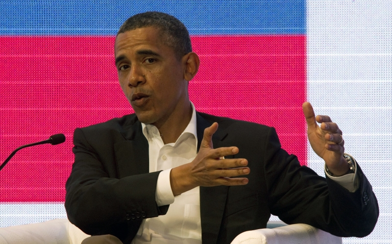<p>President Obama speaks today at a forum with Brazil's President Dilma Rousseff and Colombia's President Juan Manuel Santos at the CEO Summit of the Americas in Cartagena, Colombia.</p>