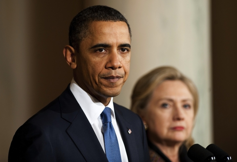 <p>U.S. President Barack Obama (L) makes a statement on Libya with U.S. Secretary of State Hillary Clinton (R) at the White House in Washington, DC, Feb. 23, 2011.</p>