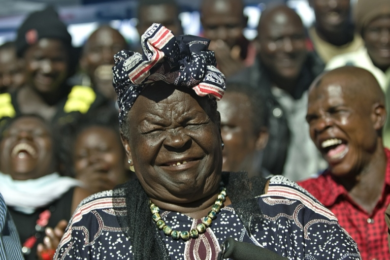 <p>Sarah Obama, step-grandmother to USA's President elect, Barak Obama, reacts with members of her family on November 7, 2012 in the hamlet of Kogelo in western Kenya during a press conference that followed media-anouncements of Obama's apparent victory.</p>