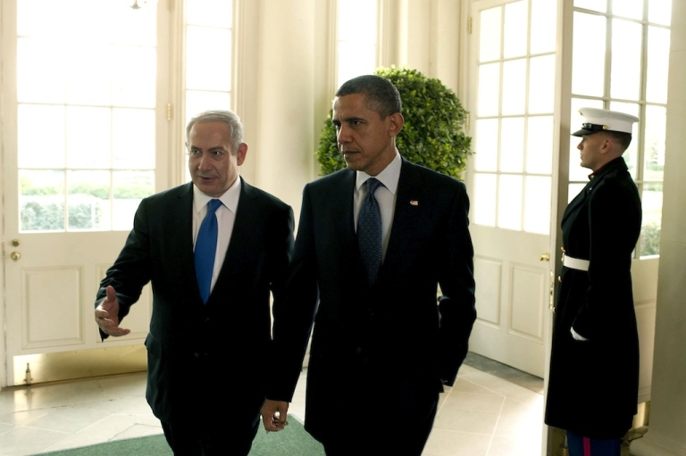 <p>In this handout photo from the Israeli Government Press Office (GPO), U.S. President Barack Obama (R) talks with Prime Minister Benjamin Netanyahu at the White House on March 5, 2012 in Washington, DC. The two leaders discussed peace in the Middle East and Israel's growing concerns with Iran producing nuclear weapons.</p>