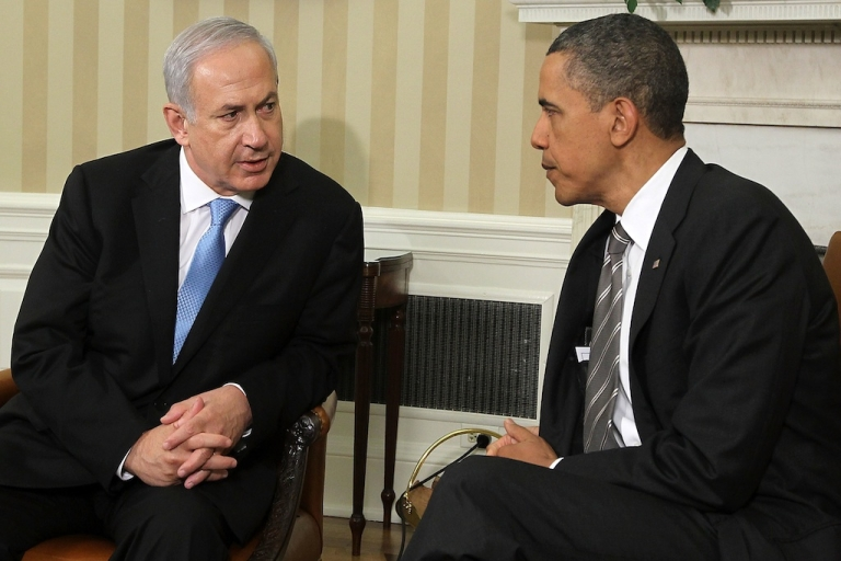 <p>US President Barack Obama and Israeli Prime Minister Benjamin Netanyahu prepare to make statements after their meeting May 20, 2011 in the Oval Office of the White House in Washington, DC.</p>