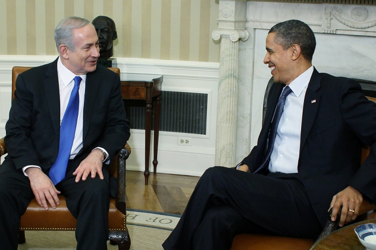 <p>President Barack Obama (R) meets with Prime Minister Benjamin Netanyahu in the Oval Office at the White House on March 5, 2012 in Washington, DC. The two leaders discussed peace in the middle east, and Israel's growing concerns with Iran producing nuclear weapons.</p>
