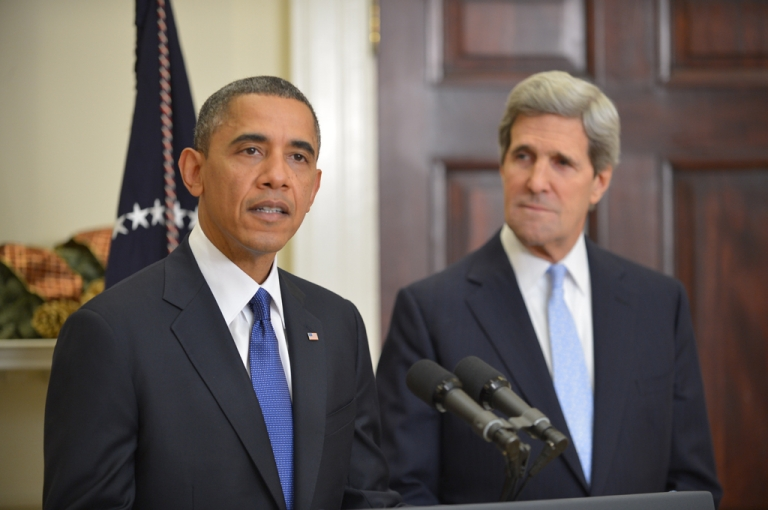 <p>US President Barack Obama announces US Senator John Kerry as his choice for the next secretary of state on December 21, 2012 in the Roosevelt Room of the White House in Washington, DC.</p>