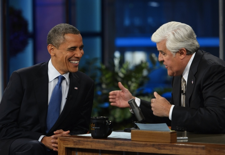 """<p>US President Barack Obama chats with host Jay Leno during a break in the taping of """"The Tonight Show with Jay Leno"""" October 24, 2012 at NBC Studios in Burbank, California.</p>"""
