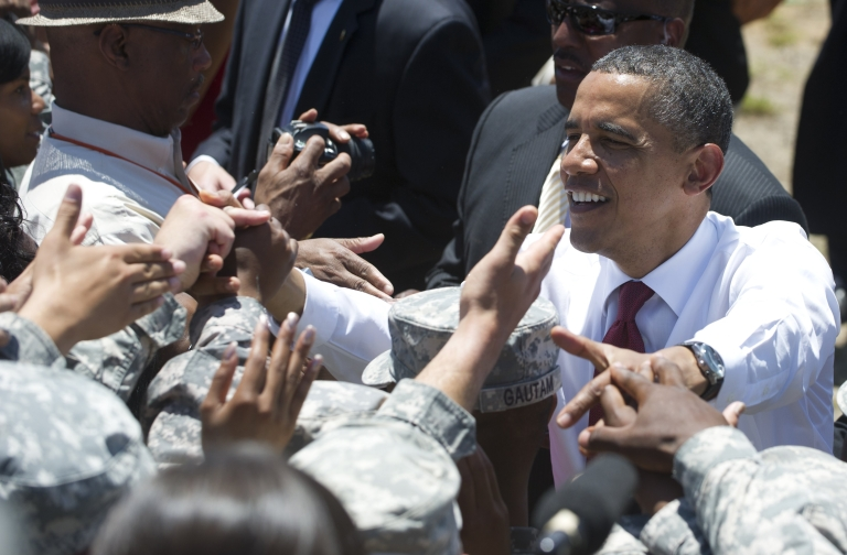 <p>President Obama greets US troops in April at the US Army's 3rd Infantry Division headquarters at Fort Stewart in Hinesville, Ga.</p>