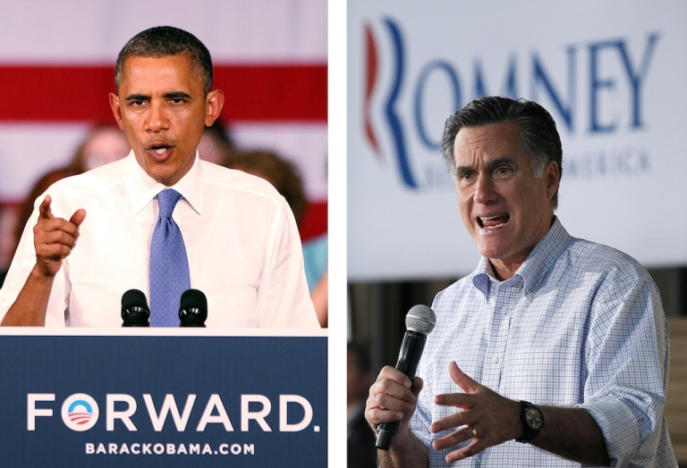 <p>President Barack Obama (L) delivers remarks to seniors at Century Village on July 19, 2012 in West Palm Beach, Florida. Former Massachusetts Gov. Mitt Romney (R) speaks during a town hall style meeting at Wisconsin Building Supply on April 2, 2012 in Green Bay, Wisconsin.</p>