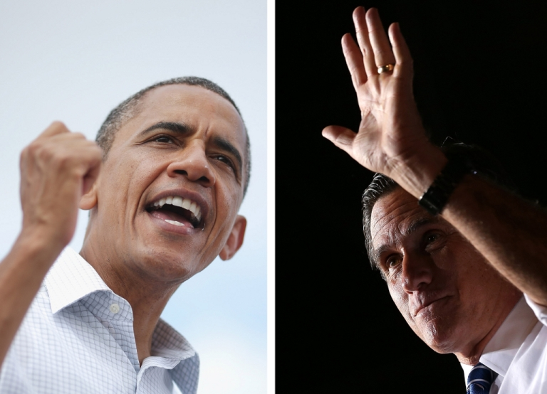 <p>The two US Presidential Candidates: Barack Obama (L) and Mitt Romney (R)</p>