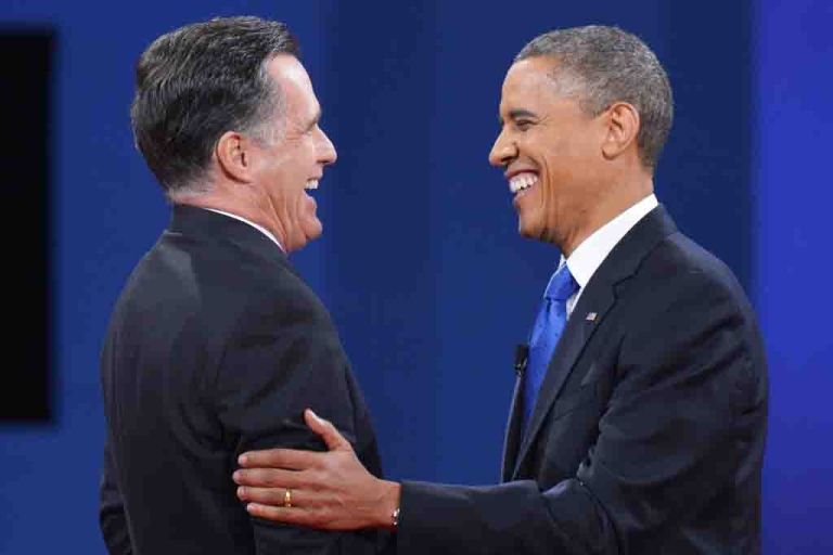 <p>US President Barack Obama and Republican presidential candidate Mitt Romney shake hands at the end of the third and final presidential debate Oct. 22, 2012 at Lynn University in Boca Raton, Florida.</p>
