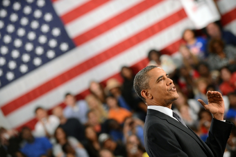 <p>US President Barack Obama speaks on the economy during a campaign event at the Cuyahoga Community College in Cleveland, Ohio, on June 14, 2012.</p>