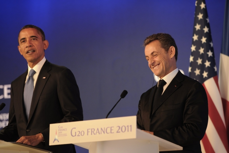 <p>US President Barack Obama and his French counterpart Nicolas Sarkozy hold a joint press conference, ahead of the start of the G20 Summit of Heads of State and Government on Nov. 3, 2011, in Cannes, France.</p>