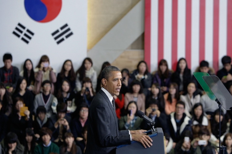 <p>US President Barack Obama gives a lecture as he attends 2012 Seoul Nuclear Security Summit at the Hankuk University of Foreign Studies on March 26, 2012 in Seoul, South Korea.</p>