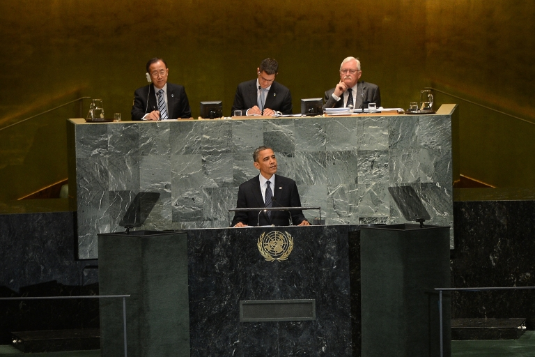 <p>US President Barack Obama addresses the 67th UN General Assembly in New York, Sept. 25, 2012.</p>
