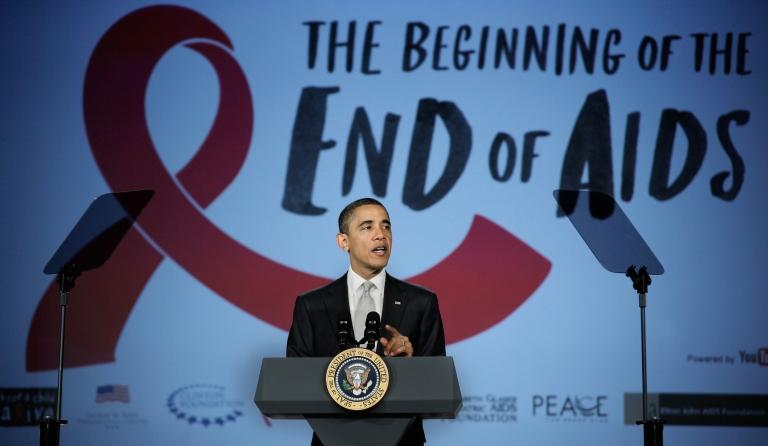 <p>WASHINGTON, DC - DECEMBER 01:  U.S. President Barack Obama delivers remarks during a World AIDS Day event at the Jack Morton Auditorium on the campus of George Washington University December 1, 2011 in Washington, DC. Focusing on