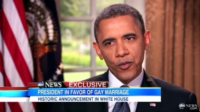 <p>Obama first publicly announced his support of gay marriage in an interview with ABC News in May 2012.</p>