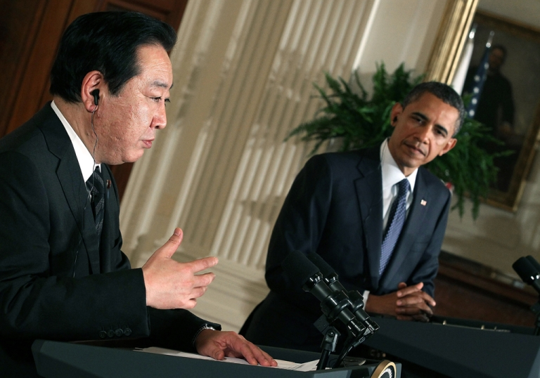 <p>President Barack Obama (R) listens as Japanese Prime Minister Yoshihiko Noda speaks during a news conference in the East Room at the White House on April 30, 2012 in Washington, DC. President Obama and Prime Minister Noda took questions from the media and talked about US-Japanese relations and their strong alliance.</p>
